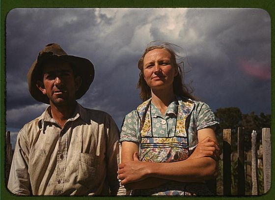 Homesteaders Faro and Doris, Pie Town New Mexico, 1940