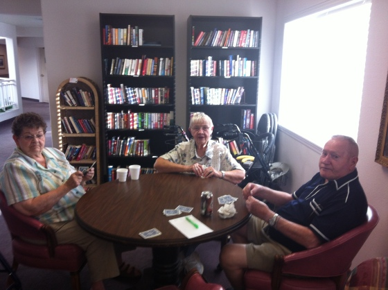 Harold, My Grandma, and her best friend Myrtle, playing cards on a wild Friday night last summer.